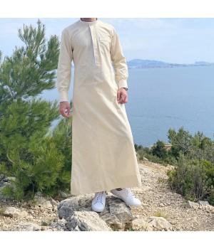 Edge thobe fabric Linen Sand and white