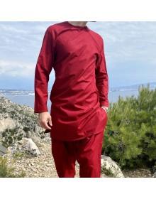 Ensemble Imad tunique en lin couleur Rouge avec serwel coupe qandrissi