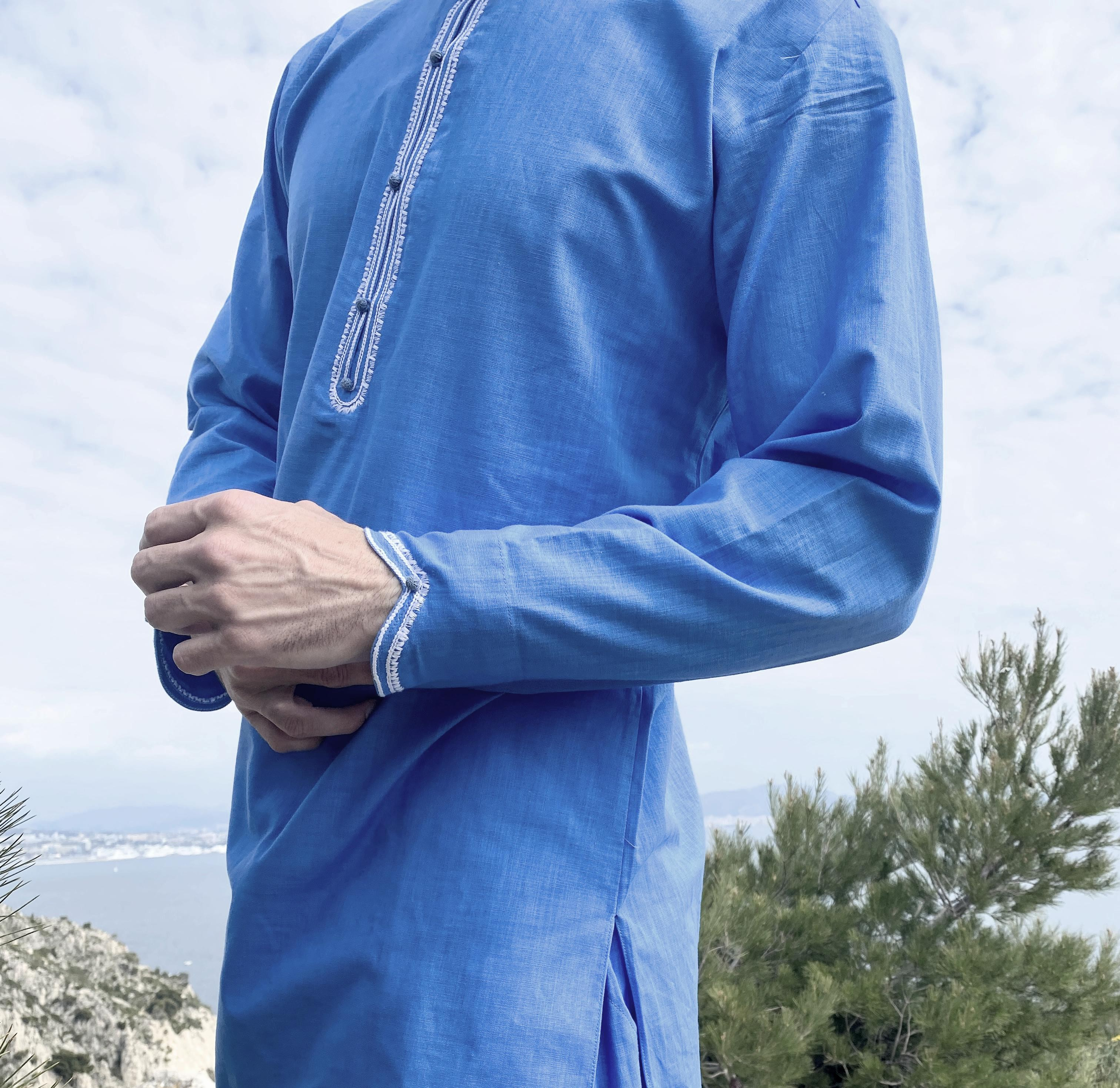 Qamis Al Masaf tunic cut fabric Linen : Sapphire blue with Qandrissi Serwel (Moroccan Style)