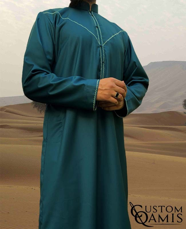 Emirati Thobe Rounded Bahraini Collar fabric Cashmere Wool Bluish Green (suit fabric)