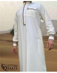 Luqman Thobe Fabric Imperial brown and mustard