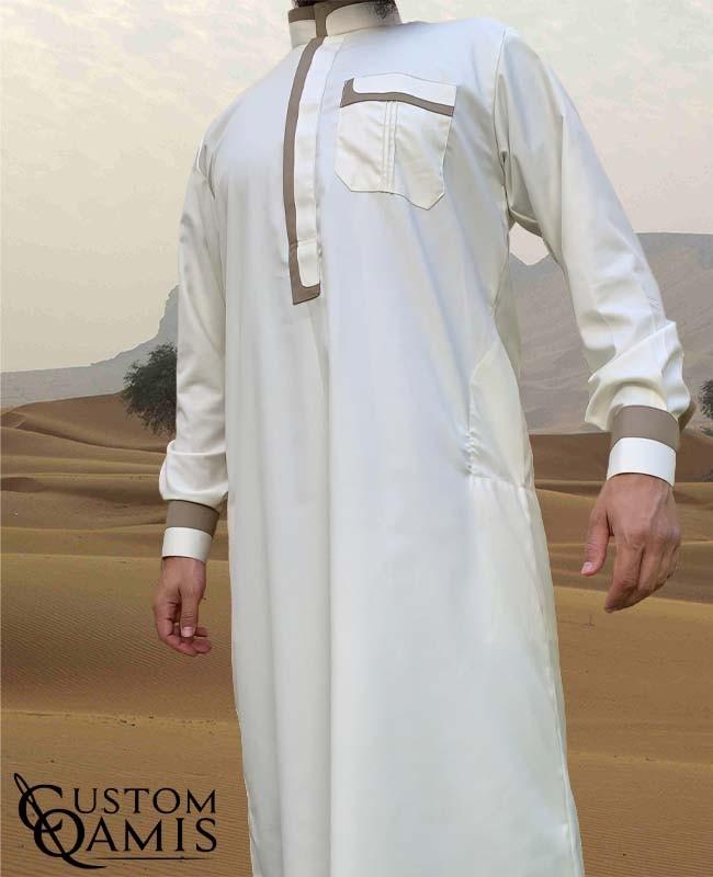 Qamis Luqman Tissu Cashmere Wool : Crème et Beige (tissu costume)